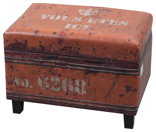 nach nach faux leather rectangular industrial stool with storage orange footstools and ottomans