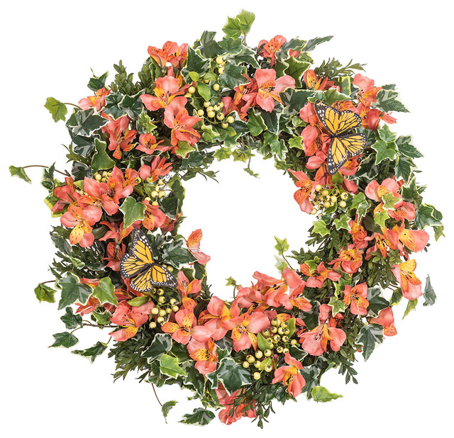 """Orange Yellow Alstroemeria Floral Berry and Ivy Monarch Butterfly Wreath, 30"""""""