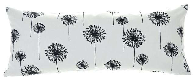 Floral Nature Dandelion Black White Cotton Premier Print Fabric Pillow Covers, 1