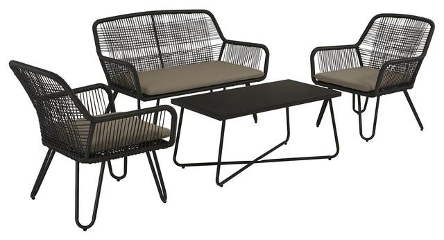 Novogratz Poolside Collection, Marli Outdoor Conversation 4-Piece Set