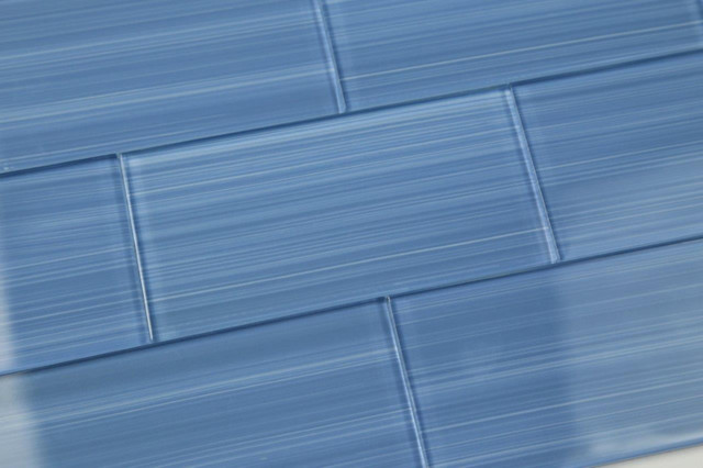 Dark Haven Blue Hand Painted Glass Subway Tile Sample