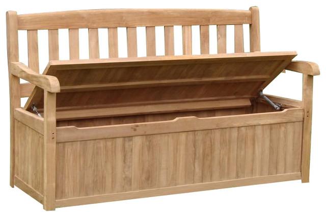 Teak Outdoor Devon Storage Bench Contemporary Outdoor - Teak patio bench
