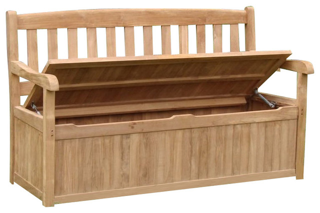 Superieur Teak Outdoor Devon Storage Bench, 5u0027