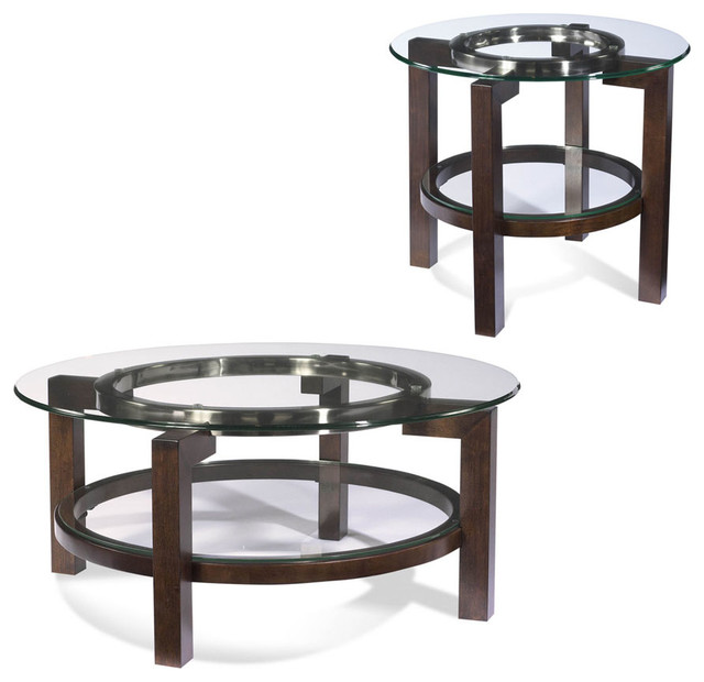 Bassett Mirror Company Bassett Mirror T1705 Oslo Round 2 Piece Glass Top Coffee Table Set