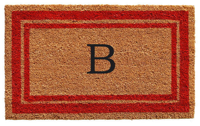 Red Border 18x30 Monogram Doormat, Letter B.