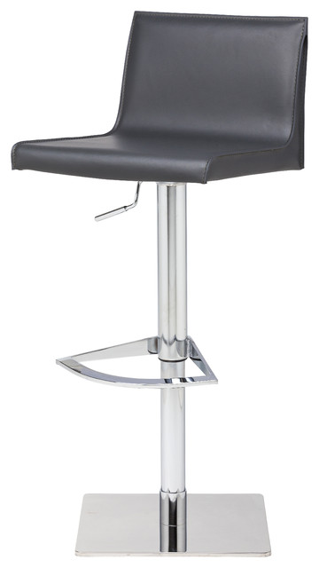 Colter Adjustable Leather Stool, Dark Gray.