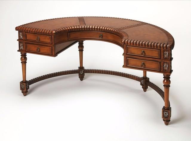 Butler Traditional Demilune Desk, Dark Brown.