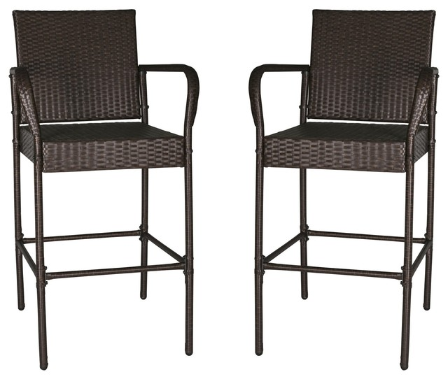 Set Of 2 Outdoor Wicker Rattan Bar Stool Patio Furniture Bar Stools Club Chairs.