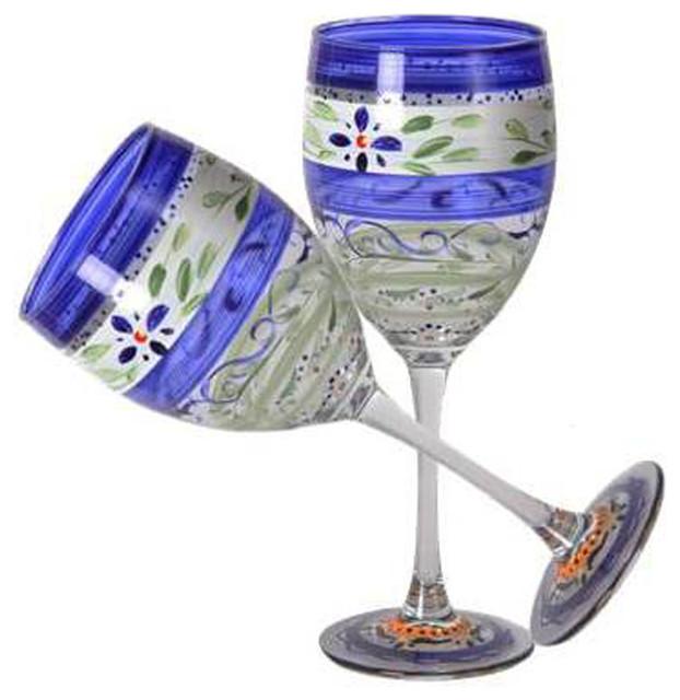 Blue Floral Wine Glasses Set Of 2 Traditional Wine Glasses