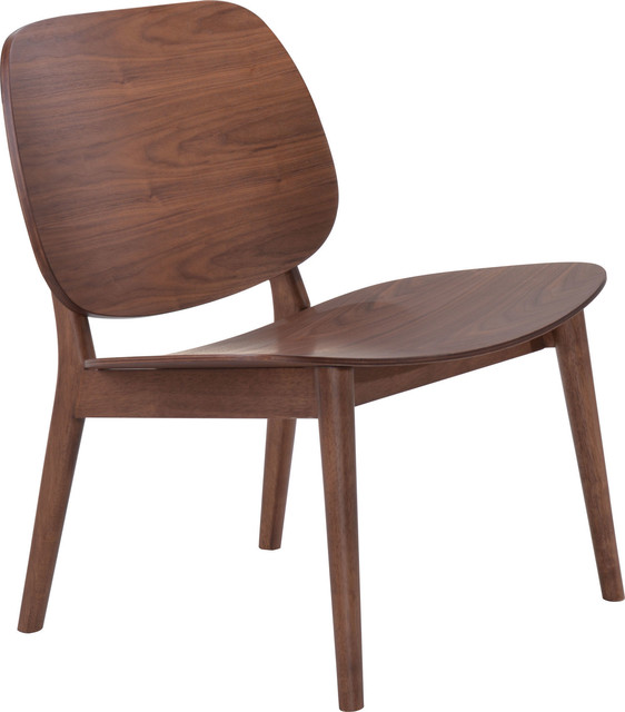 Zuo Modern Priest 100152 Lounge Chairs, Walnut, Set Of 2.