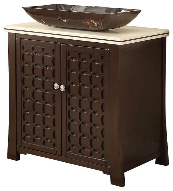 "Bathroom Vanities Bowl Sink giovanni vessel sink vanity cabinet, 30"" - contemporary - bathroom"