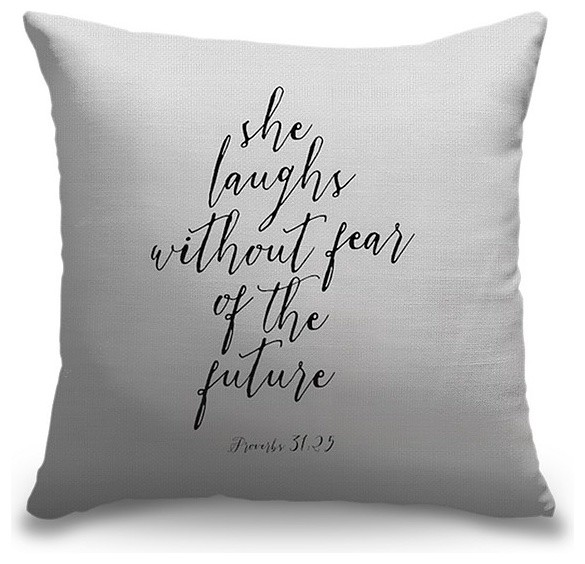 """Proverbs 31:25 - Scripture Art in Black and White"" Pillow 16""x16"""