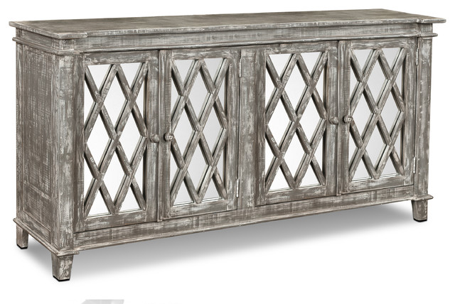 Rustic Solid Wood Keystone Mirrored 4 Door Sideboard