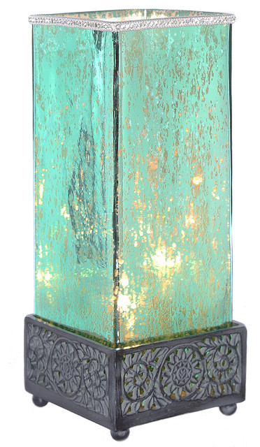 "14.75"" Studio Art Mercury Glass Square Jeweled Uplight Table Lamp, Teal."