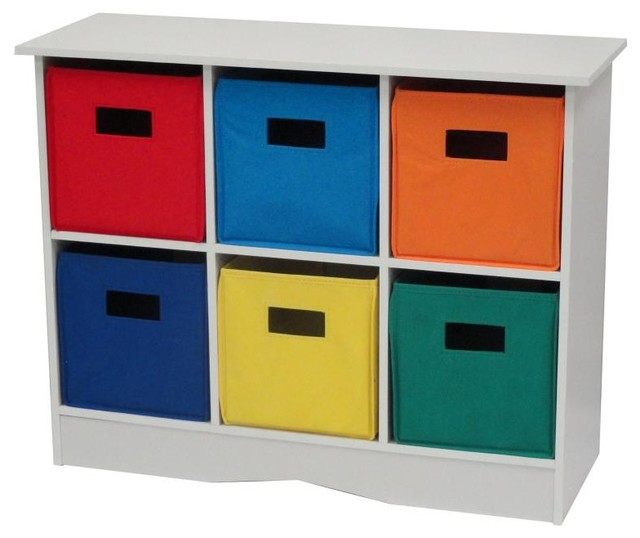 White Cabinet W 6 Bins Traditional Toy Organizers By
