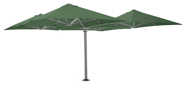 8&x27;2 Square Quattro Olive Green Umbrella, Surface Plate And Led Lights.