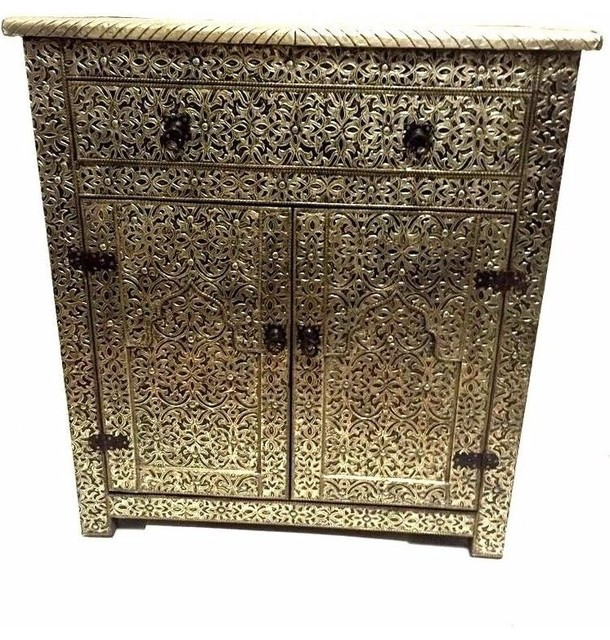White Marble Arabesque Side Table: Moroccan Drawer Cabinet Table Silver Carved And Etched