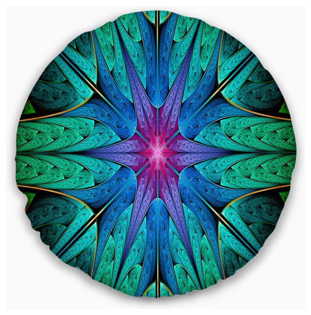 Turquoise Star Fractal Stained Glass Abstract Throw Pillow Contemporary Decorative Pillows By Design Art Usa