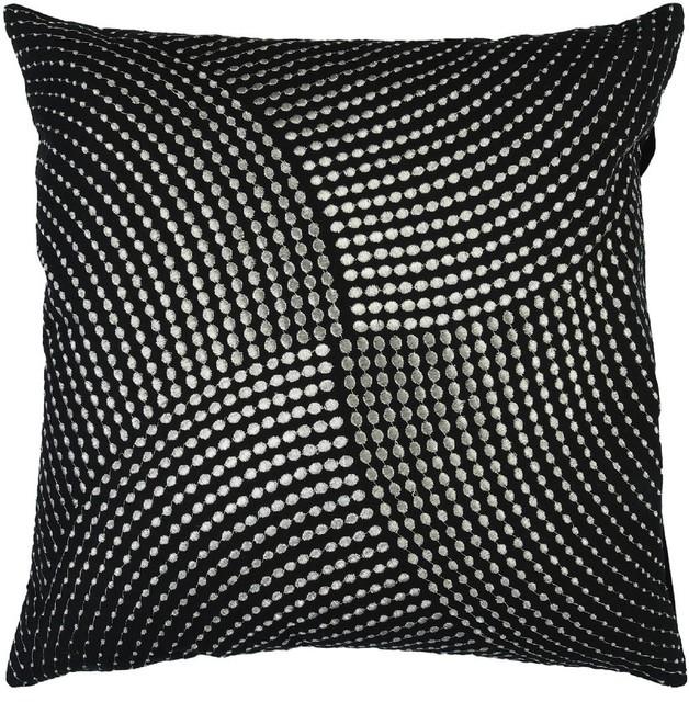 "Midnight Decorative Pillow, Black-Gray, Down Filler Square 18"""