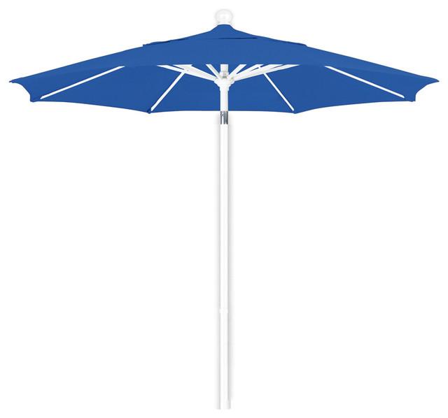 Bon 7.5 Foot Sunbrella Aluminum Pulley Lift Patio Market Umbrella, White Pole