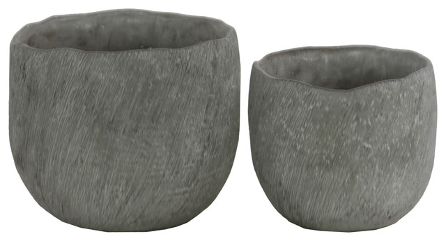 Round Cement Flower Pot with Uneven Lips, Concrete Gray Finish, Set of 2