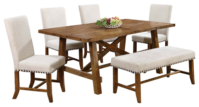 Yosemite Honey Walnut 6 Piece Dining Room Set
