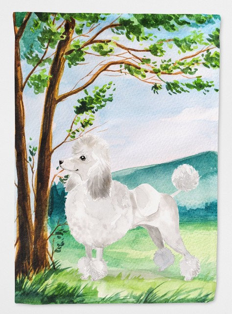 Under The Tree White Poodle Flag Canvas House Size
