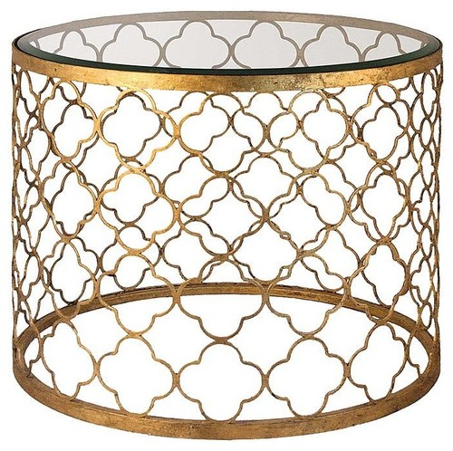 Regina Andrew Gold Leaf Beveled Glass Top Table contemporary side tables and accent tables