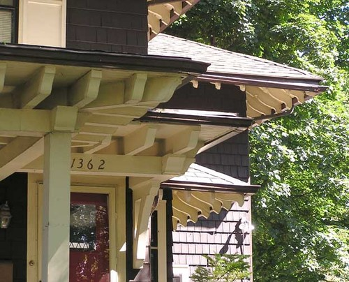 1920 foursquare painting siding and adding corbels Decorative rafter tails