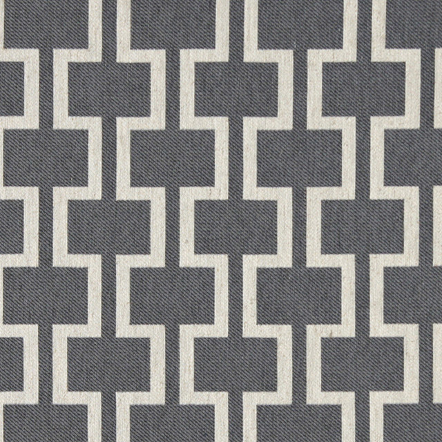 Grey And Off White Contemporary Geometric I S Upholstery Fabric By The Yard