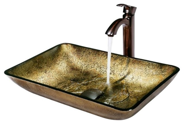 Shop houzz vigo industries rectangular copper vessel for Rectangular copper bathroom sink