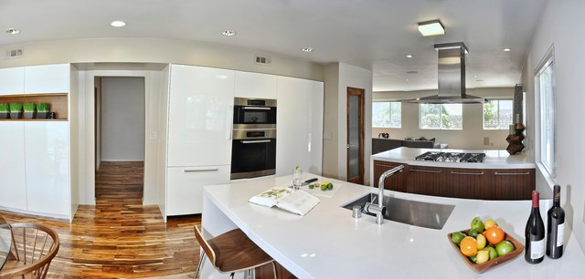 Mid Century Modern Open Concept Kitchen Dining Room And Living Moderne Cuisine