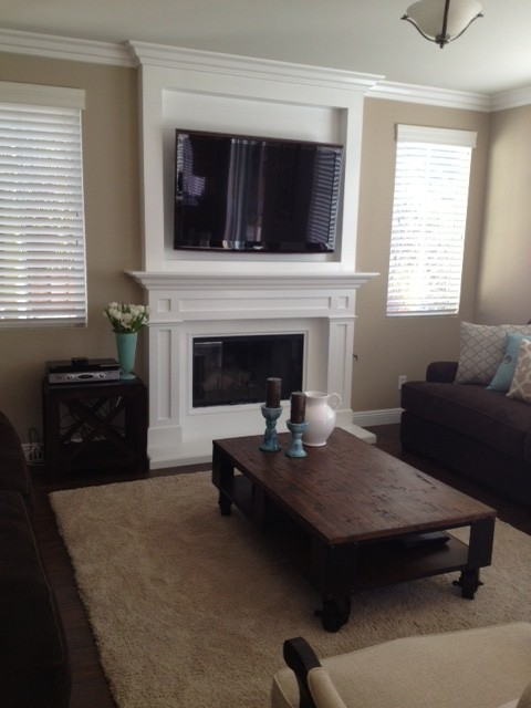 Tv Cabinet Over Fireplace Mantel Contemporary San