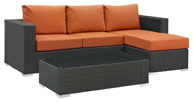 Modway Sojourn 3-Piece Outdoor Sectional Set, Canvas Tuscan
