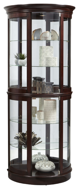 Shop Houzz | Pulaski Large Cherry Half Round Glass Curio Cabinet With Mirrored Back - China ...