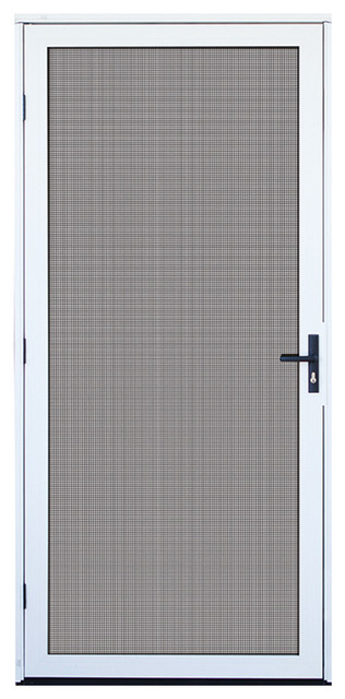 White recessed mount aluminum meshtec security screen door contemporary screen doors by - White security screen door ...