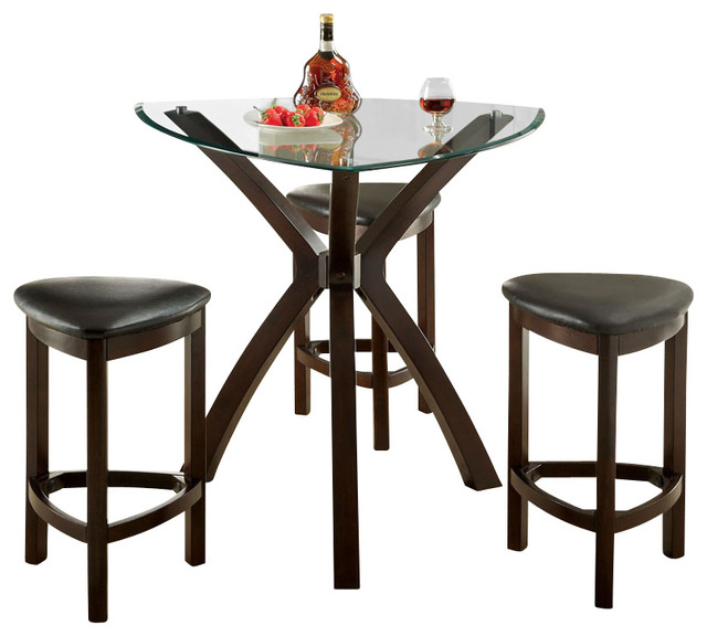 4piece delicate glass top padded stool seat counter height dining pub set