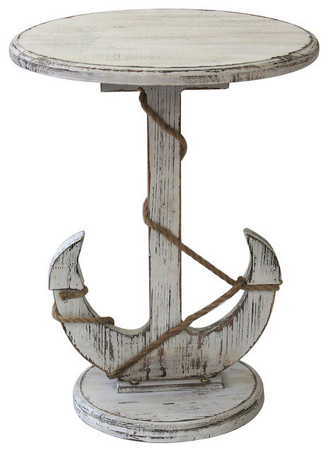 Harbor Distressed White Anchor Table Beach Style Side Tables And End
