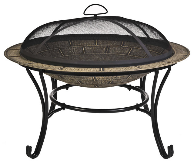CobraCo Round Cast Iron Fire Pit With Screen And Cover