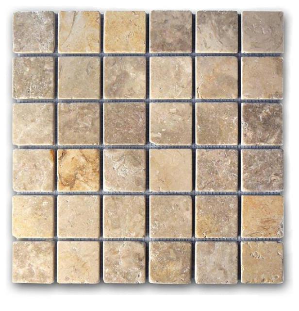 Jerusalem Gray Gold Tumbled 2 Quot X2 Quot Mosaic Traditional