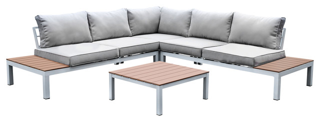 Upson Contemporary Patio Sectional and Table Set, Gray and White