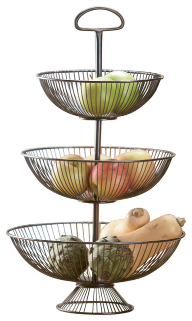 st croix trading 3 tier decorative wire basket stand 24 fruit bowls and baskets houzz. Black Bedroom Furniture Sets. Home Design Ideas