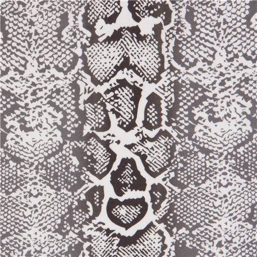 White Robert Kaufman Knit Fabric With Snake Print Fabric