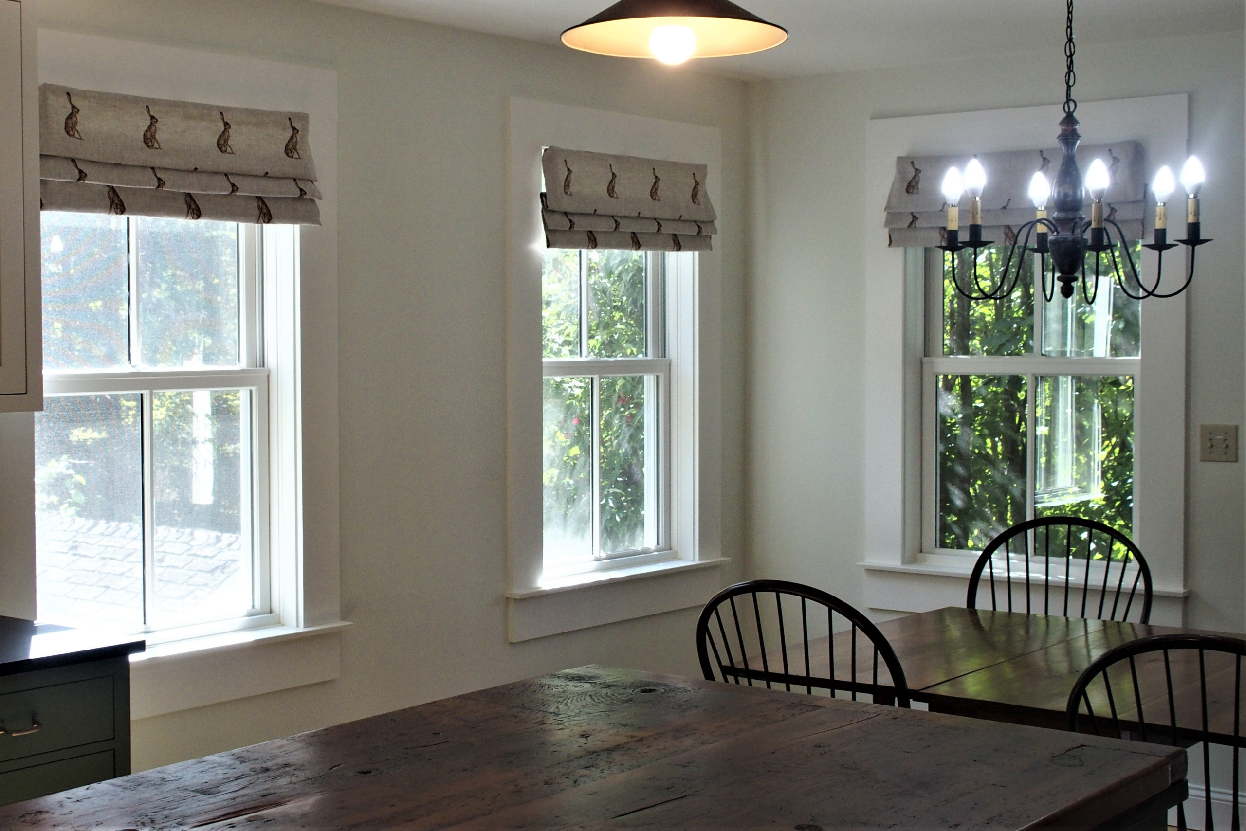 Faux Roman shades in a new kitchen