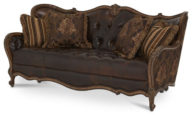 AICO Furniture, Lavelle Melange Leather/Fabric Wood Trim Tufted Sofa