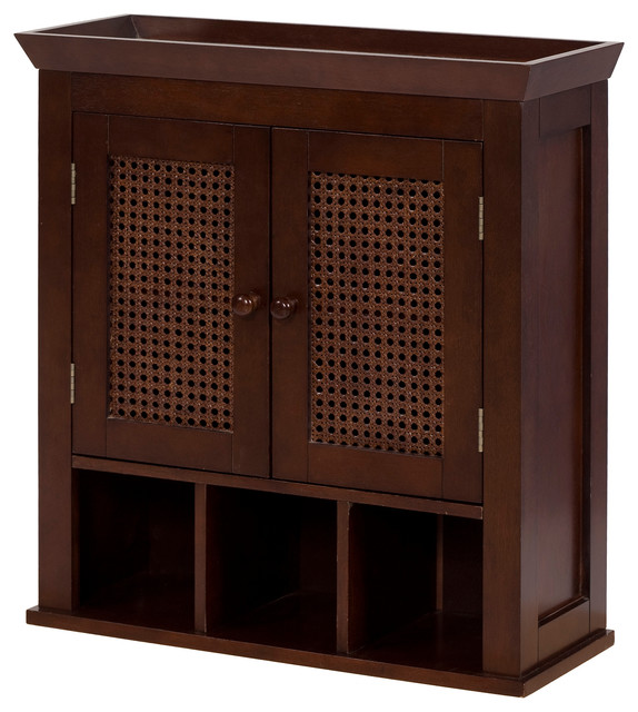 Elegant Home Fashions Cane 2-Door Wall Cabinet In Brown.
