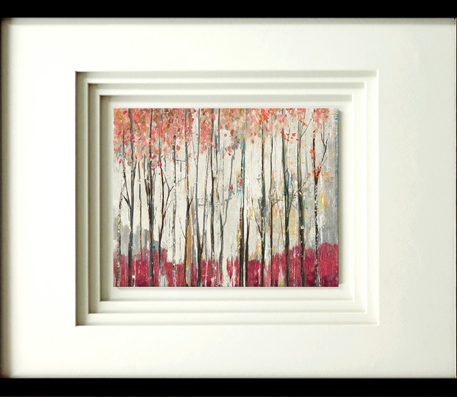 """""""pink Forest"""" Artwork By Pi Galerie, With Quad Mat, Black Molding, 17""""x21""""."""