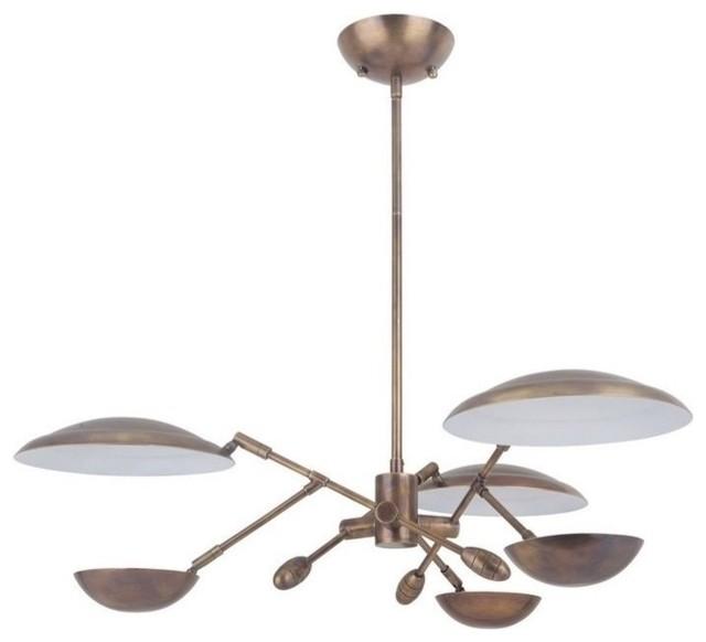 """Pavilion 29.50"""" 45W 3 LED Chandelier, Patina Aged Brass"""