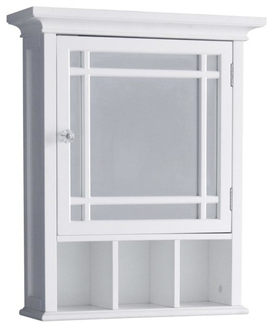 Elegant Home Fashions Neal 1-Door Medicine Cabinet In White.
