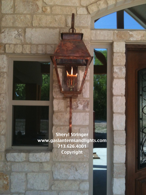 Hill Country Style Home with Gas Lanterns - Traditional - Houston ...